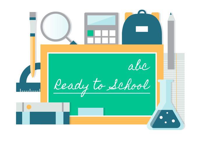 Vetor de design plano gratuito de volta aos elementos escolares