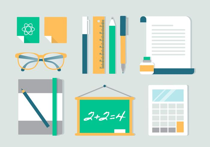 Free Flat Design Vektor Schule Icons