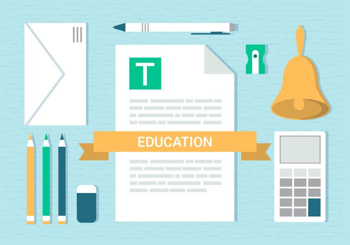 Free Flat Design Vector School Elements Illustration