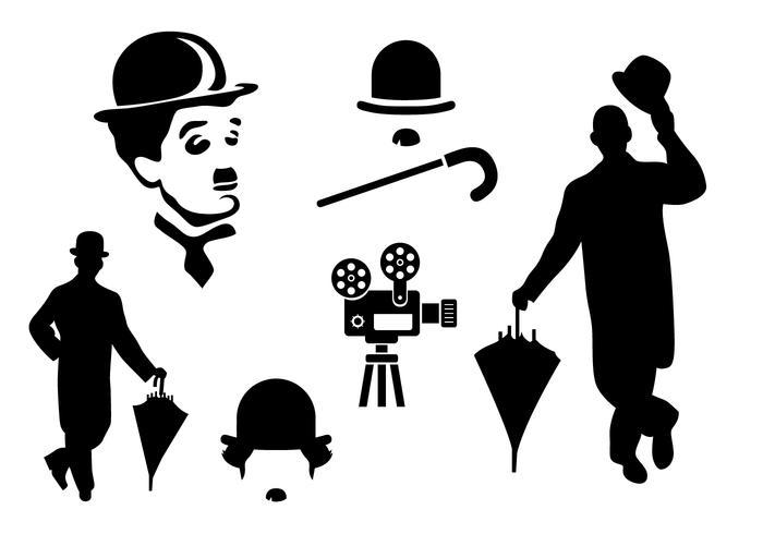Silhouette Charlie Chaplin Vecteurs