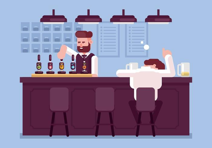 Drunk Guy at a Bar Illustration