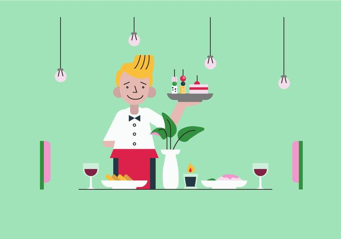 Kelner Serving Appetizers Vector Vlakke Illustratie