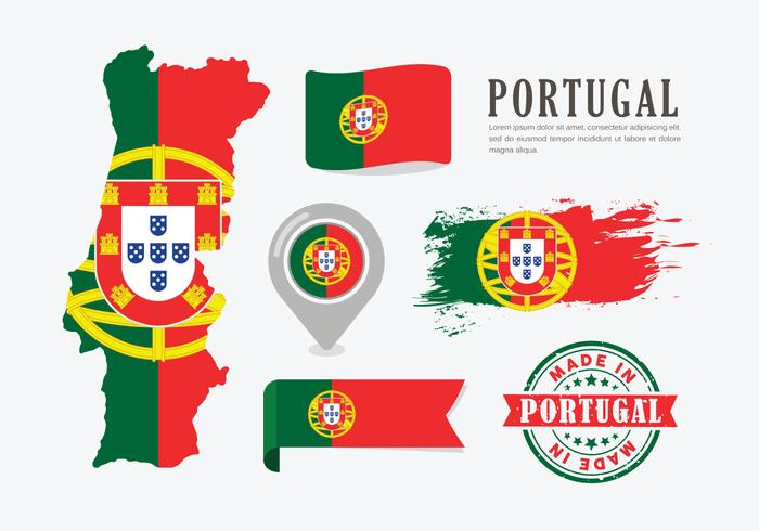 Portugal Map Vector Set And Icons