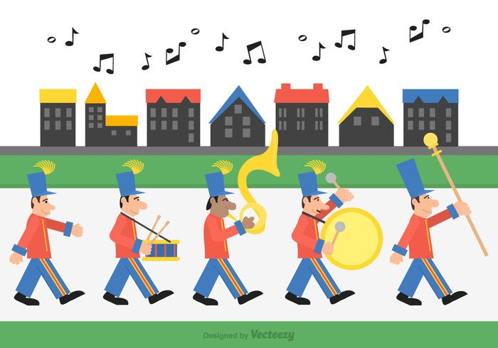 Marching Band Through The Street vector