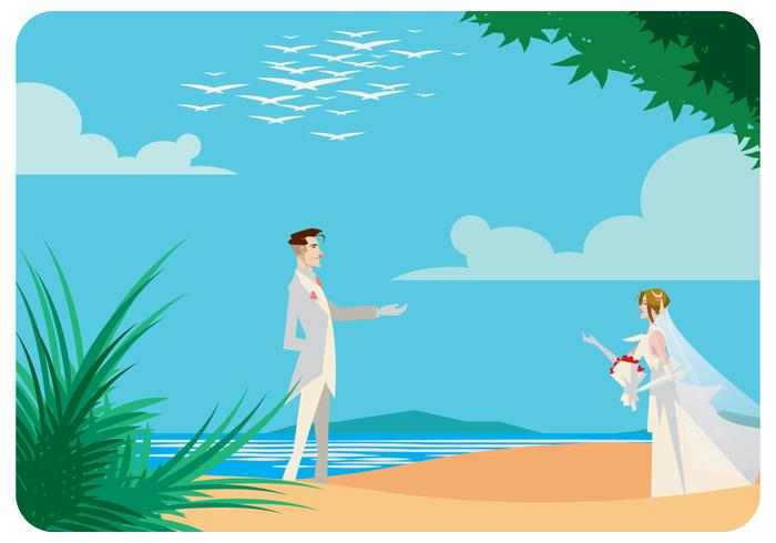Romantic Beach Wedding Vector