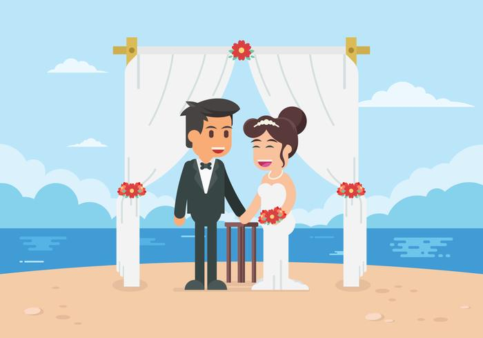 Beach Wedding Ceremony Illustration