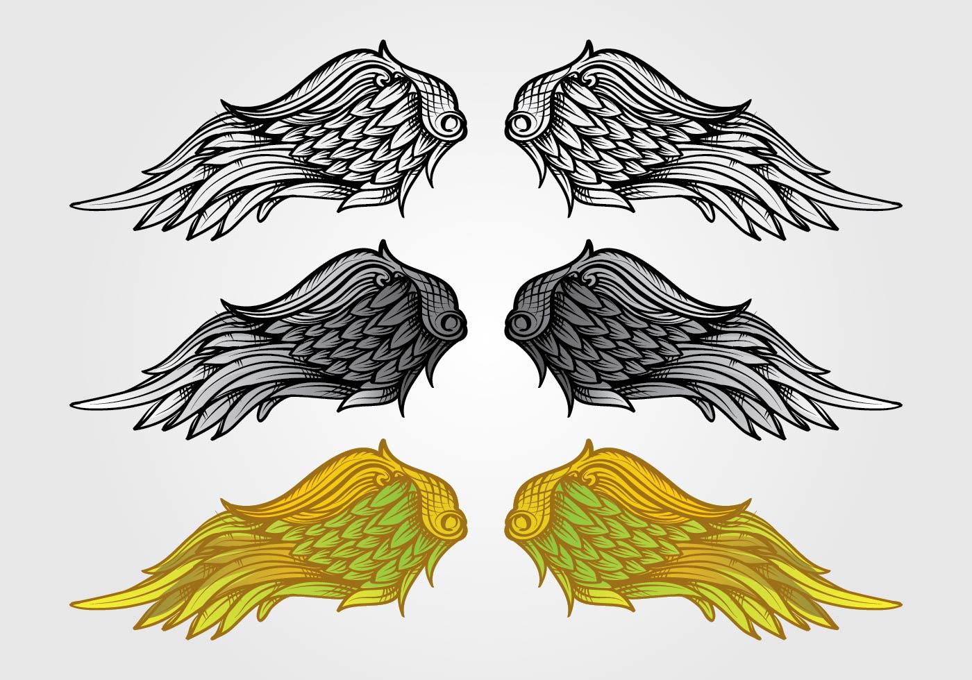 Dessin Ange Realiste vecteur d'ailes d'ange - telecharger vectoriel gratuit