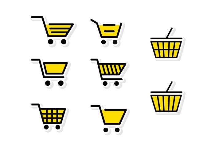 Panier de supermarché jaune plat vecteur