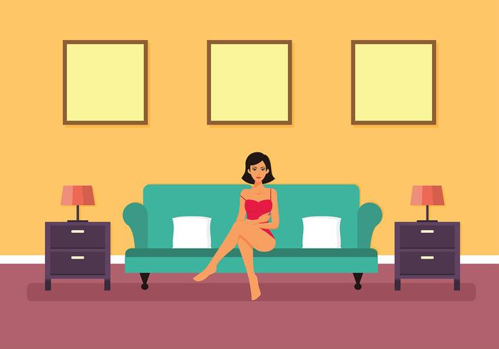 Lounging Woman in Pink Bustier Vector