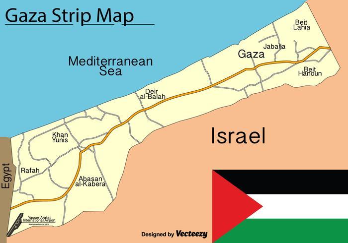 Mappa della striscia di Gaza vettoriale