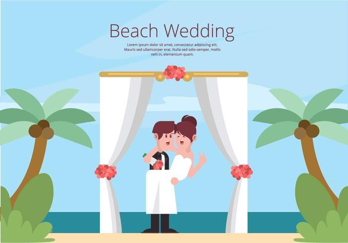 Strand bröllopsillustration