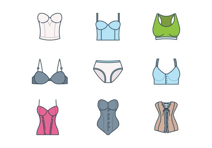 Vrouw Ondergoed Icon Set vector
