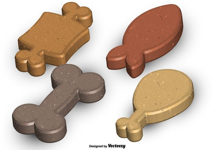 Vector Set Of High Detailed Dog Biscuits
