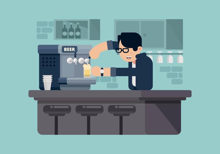 Bartender Serving Beer Illustration