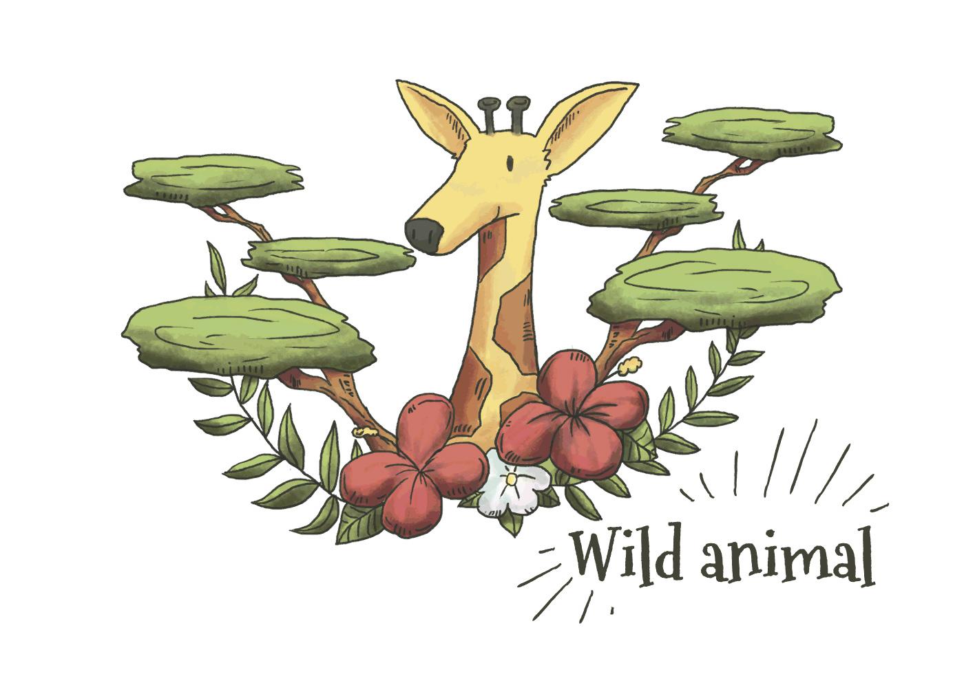 Nette Aquarell-Giraffe mit Blättern, Pflanzen und Blumen ...