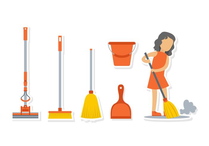 Girl With Broom Vector