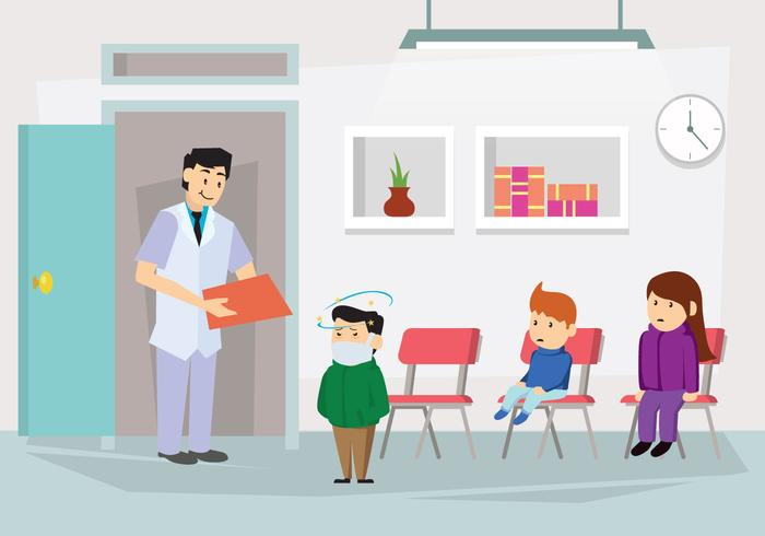 Checkup Met Pediatrician Illustratie