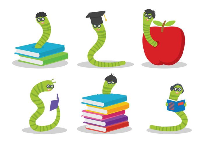 Bookworm vector set