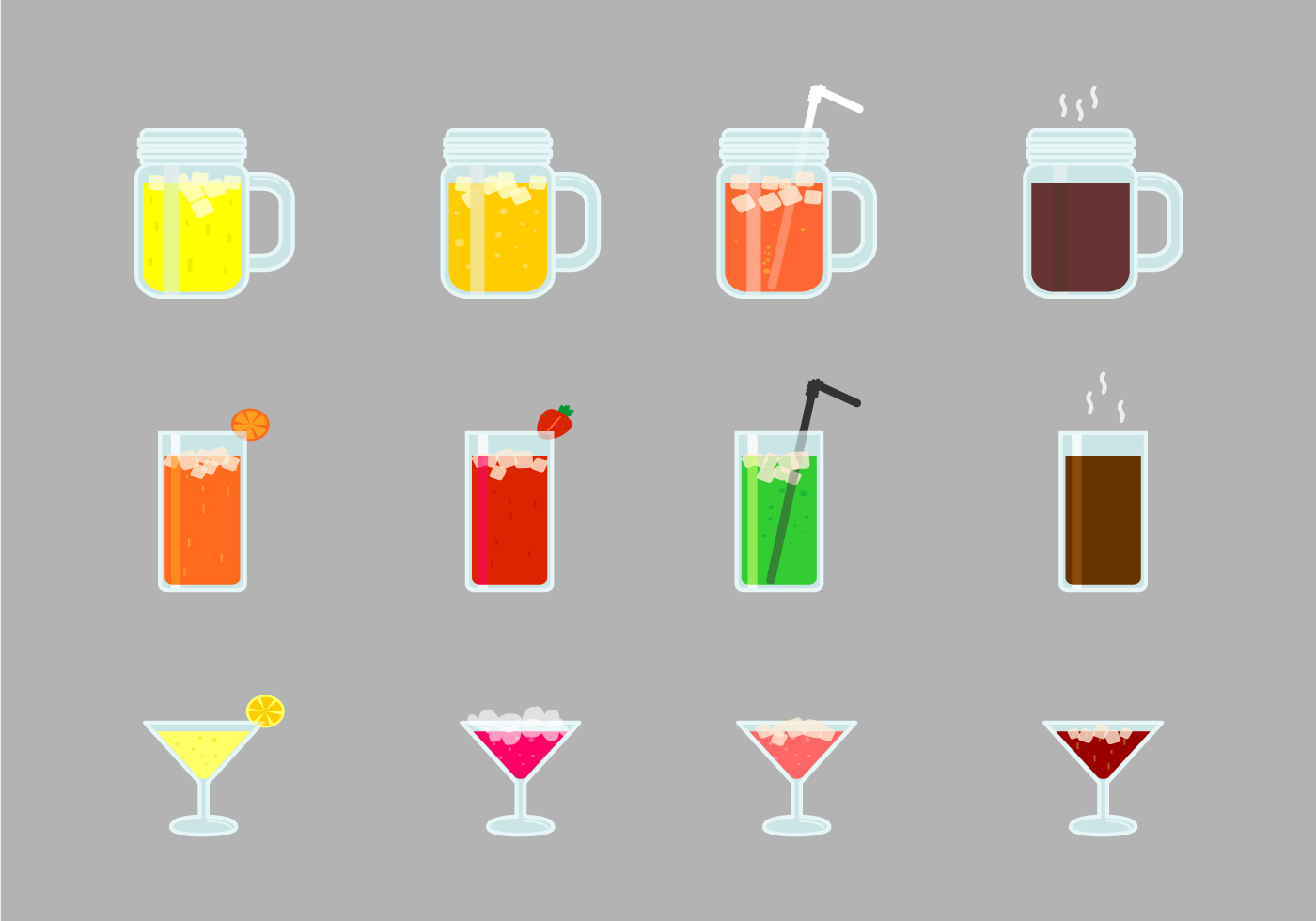 Alcohol And Mocktails Drinks Set Download Free Vector