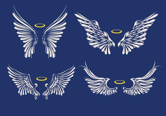 Conjunto de ilustração de asas brancas