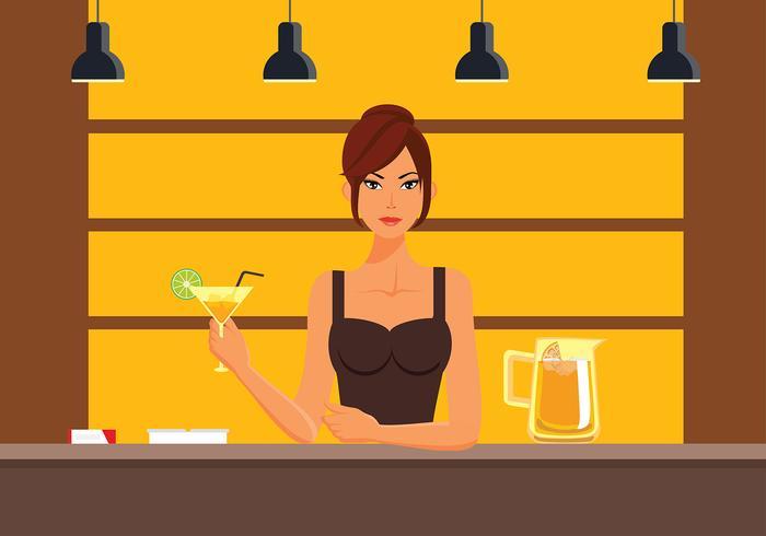Kvinna Mocktail Bar Gratis Vector
