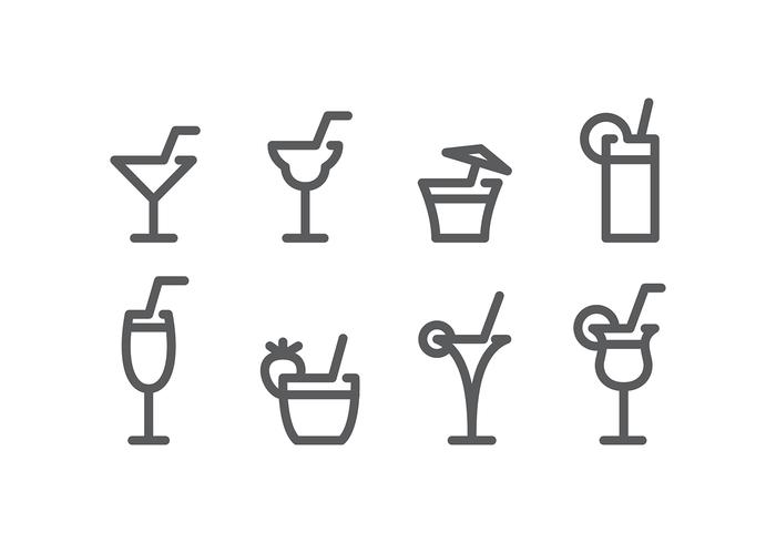 Mocktail Line Icon Gratis Vector