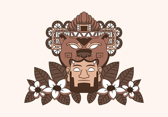 Ornamento Azteca Com Urso Homem E Folhas
