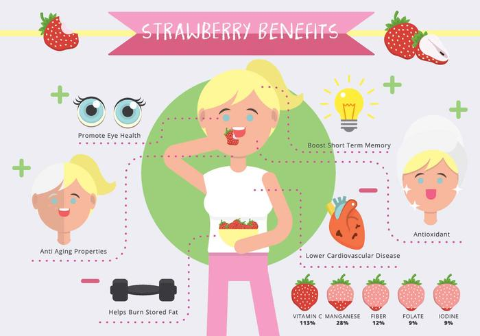 Strawberry Benefits Infographic Vector