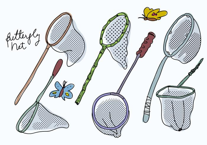 Butterfly Net Collection Hand Drawn vector Illustration
