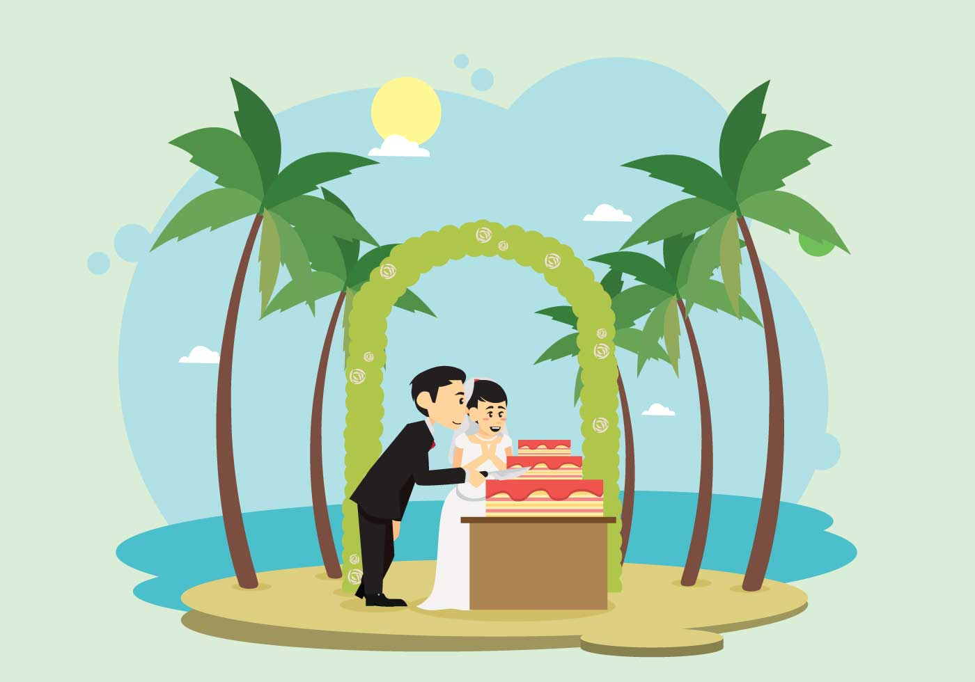 Wedding Ceremony On The Beach Illustration - Download Free ...