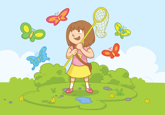 Girl with Butterfly Net Vector Illustration