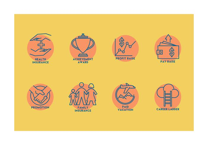 Iconos del vector de los beneficios del empleado
