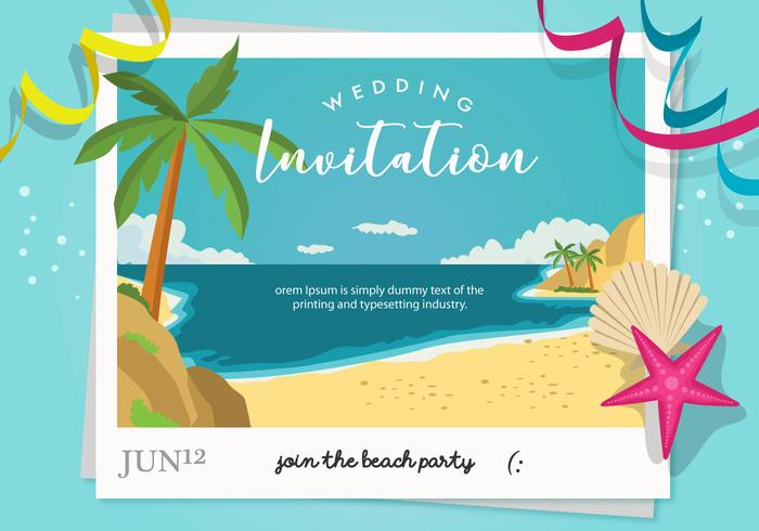 Beach Party Wedding Invitation Vector