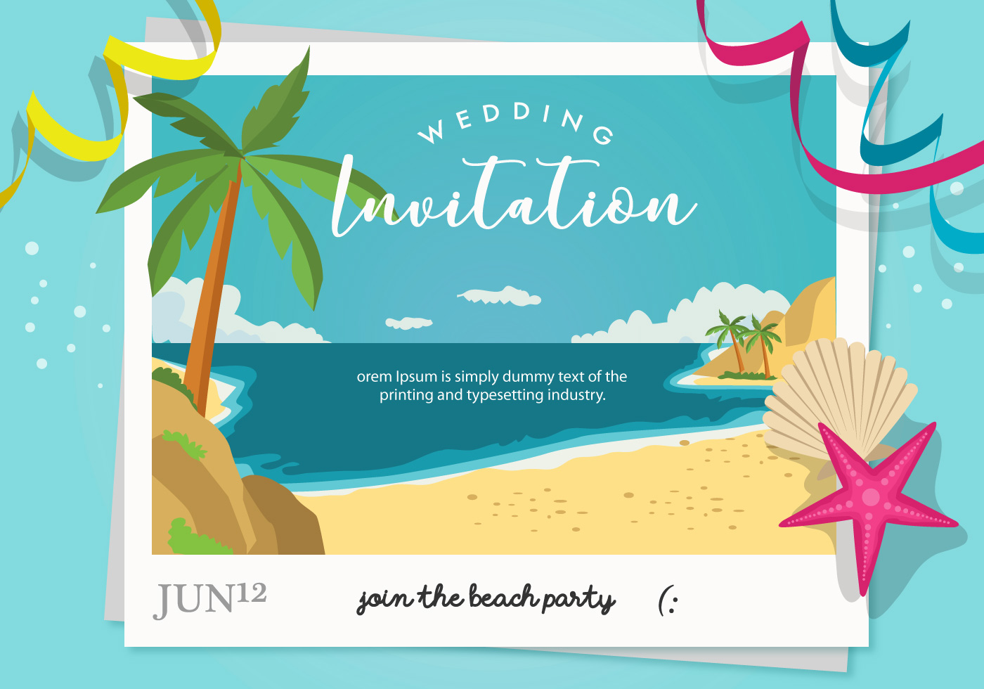 beach party wedding invitation vector
