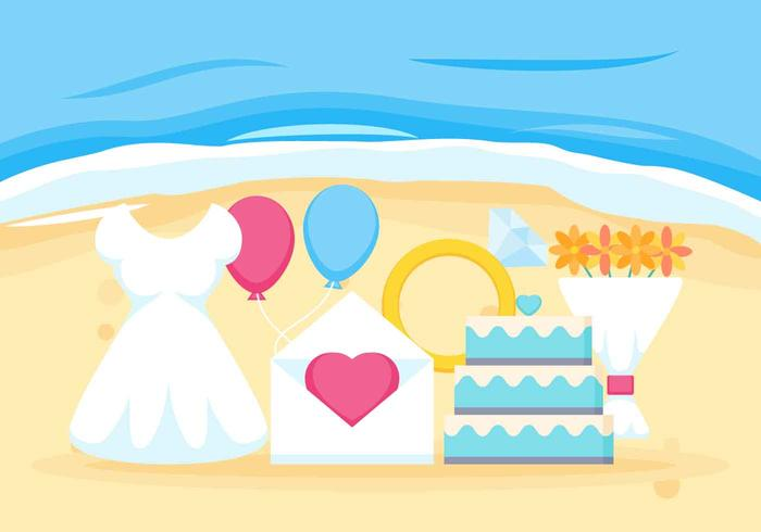 Free Outstanding Beach Wedding Vectors