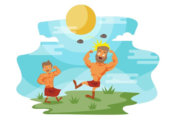 Free David and Goliath Battle Vector