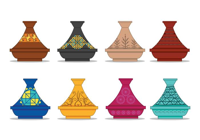 Tajine pot vector set