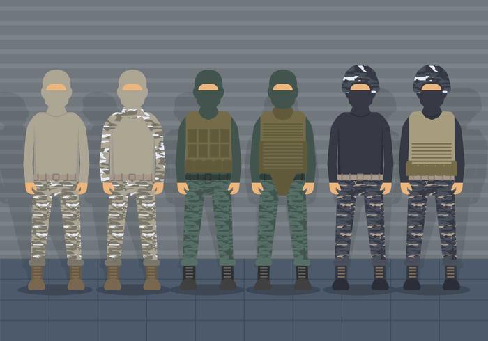 USMC soldaat uniforme vector set