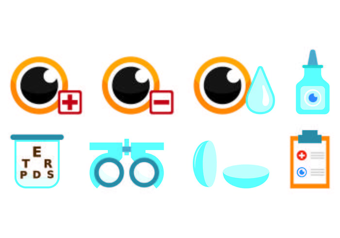 Set Of Eye Test Icons vector
