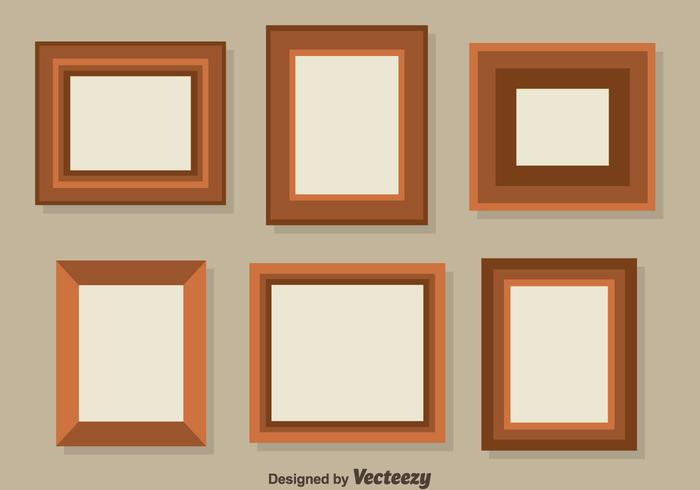 Flat Brown Photo Frame Collection Vector