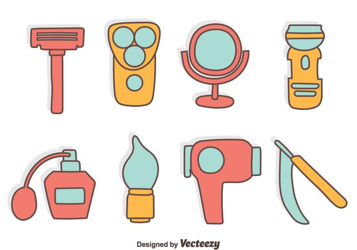 Hand Drawn Hairdresser Tools Vector