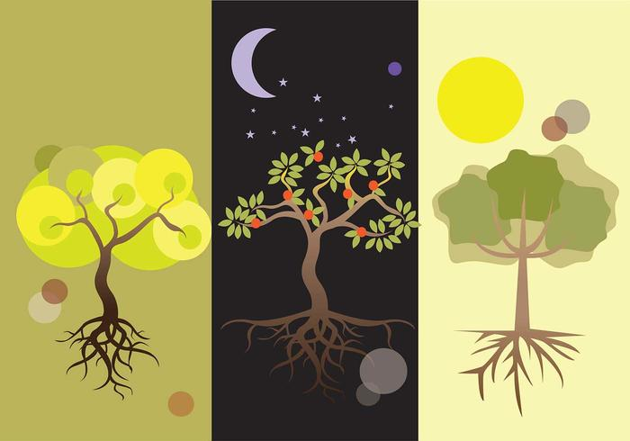Day and Night Tree With Roots Vectors