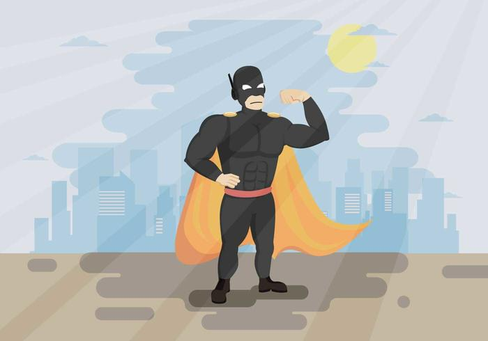 Super Hero Flexing Muscles Illustration