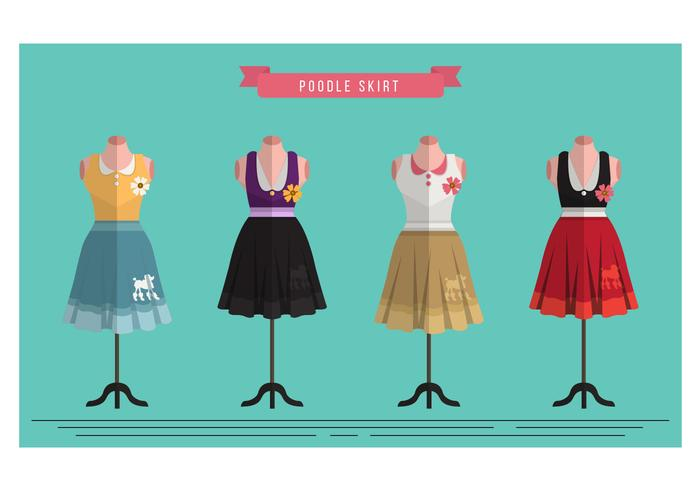 Retro Poodle Skirt Costume Vector Set