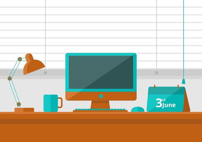 Teal y la ilustración de escritorio naranja