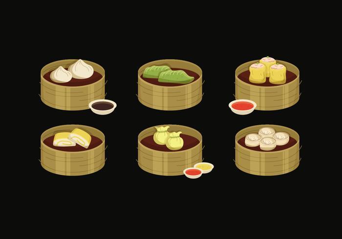 Variety of Dumplings Vector Illustration