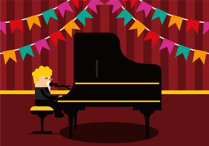 Man Singing and Playing Piano Vector