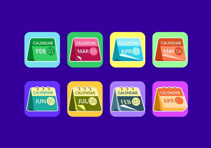 Desktop Calendar Flat Icon Free Vector
