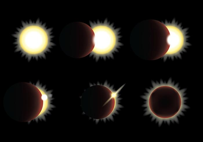 Solar Eclipse Vector Icons