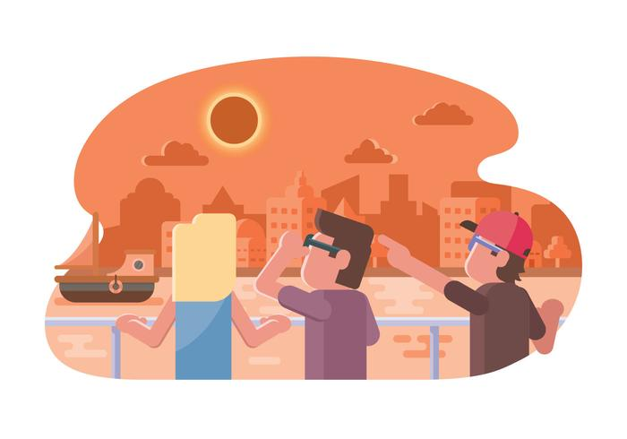 People Watching Solar Eclipse Illustration